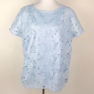 Ann Taylor Blue Floral Crochet Short Sleeve Top